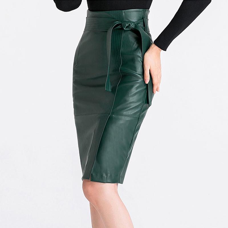 绿色皮裙半身裙女秋冬高腰气质修身大码OL系带裙子一步裙PU包臀裙