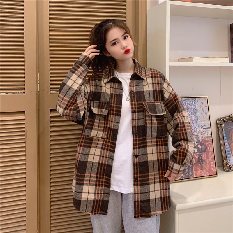 实价复古港味毛呢格子衬衫宽松秋冬韩版中长款衬衣外套