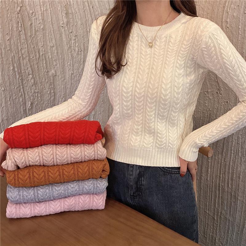 实拍实价 秋冬短款小麻花毛衣女新款韩版修身内搭打底针织衫