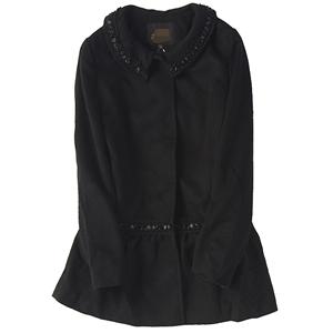 65059秋冬新款女装韩版翻领单排扣时尚珍珠花边中长款大衣外套814