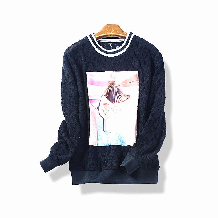 13207 春秋季新款女装韩版甜美贴布长袖T恤学生百搭蕾丝衫11月24