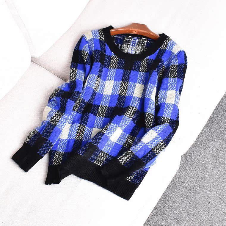 33474 秋冬季新款女裝上衣圓領長袖韓版修身套頭復古大格紋毛衣Q3