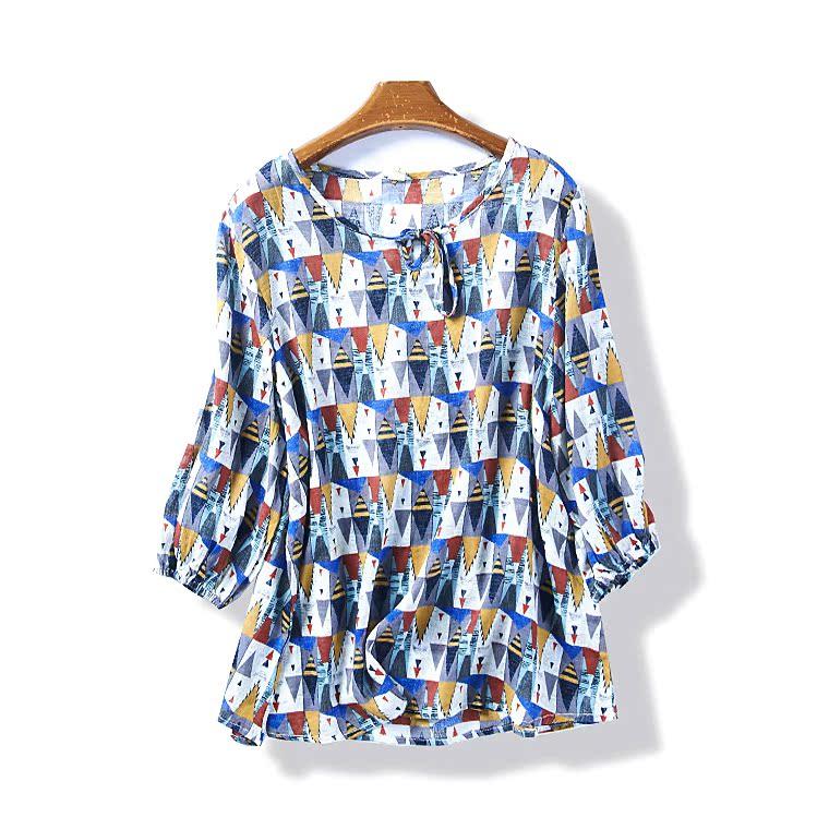 35388 夏季新款女裝韓版幾何圖案寬鬆顯瘦七分袖上衣系帶T恤5月29