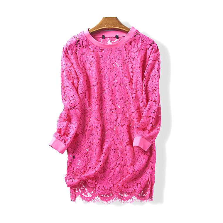 35770 春夏季新款女装日系甜美长袖蕾丝衫气质百搭外穿罩衫6月9