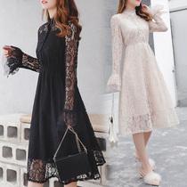 艾尚大码女装韩版喇叭袖连衣裙2019秋装显瘦蕾丝连衣裙女长袖裙子