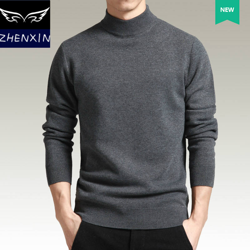 Autumn and winter sweater mens T-shirt Europe and the United Kingdom solid color thickened warm leisure half high collar Pullover Jacket fashion