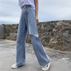 实拍3784#复古破洞心机牛仔裤泫雅老爹裤直筒阔腿裤子控价不低于5