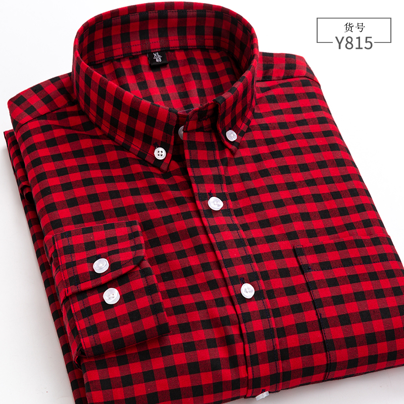 Red and Black Plaid mens long sleeve shirt Plaid Cotton Oxford small Plaid Shirt spring and autumn casual mens red