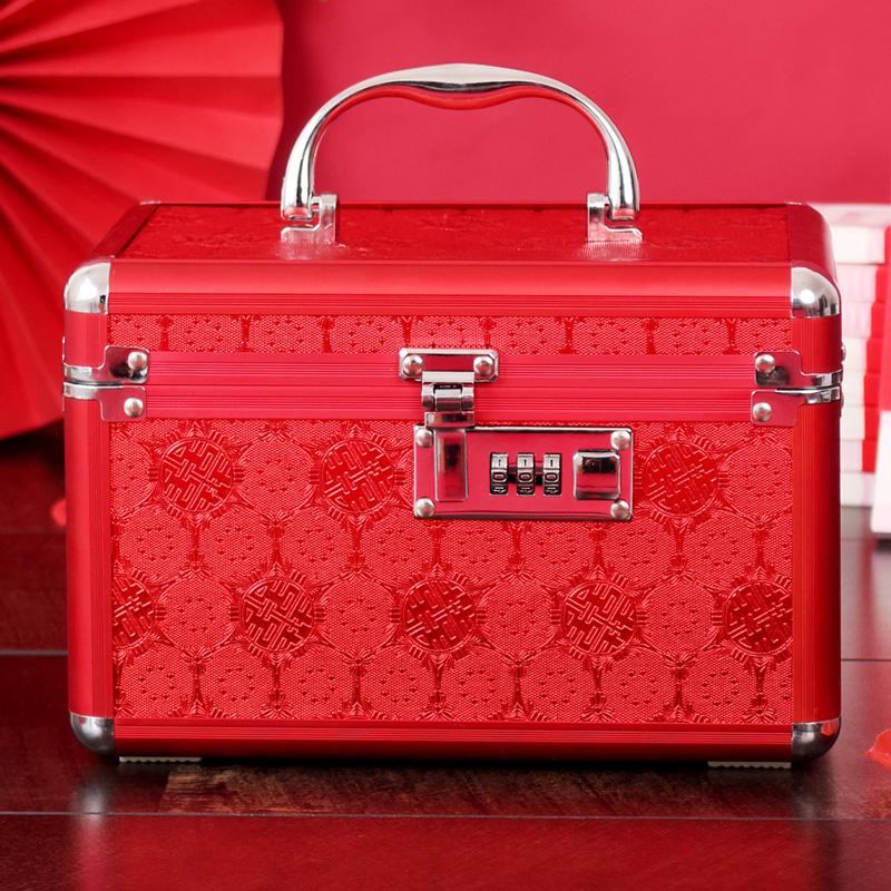 礼金箱密码箱红色结婚首饰盒收纳盒