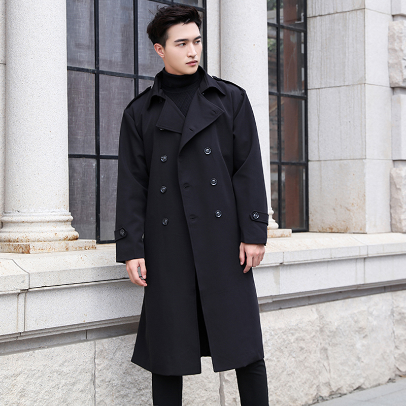 Windbreaker mens long and handsome over the knee British loose autumn double breasted youth trend Lapel coat Cape Cape