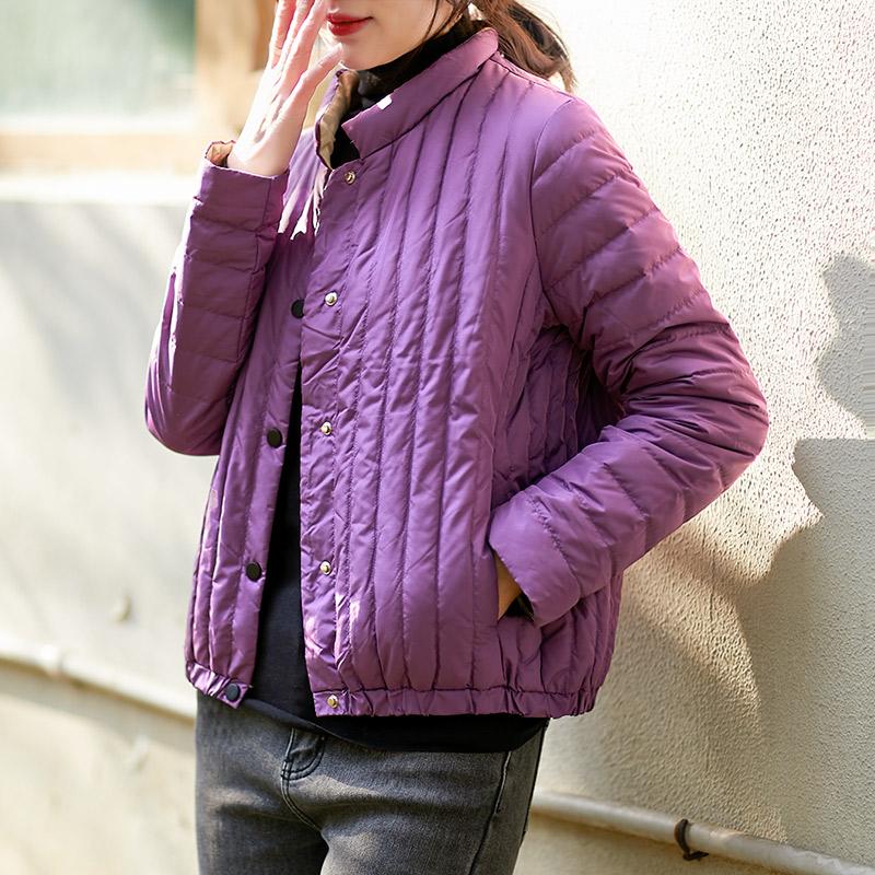 涧蓝轻薄羽绒服外套2020冬装新品修身立领纯色短款90鸭绒女装爆款
