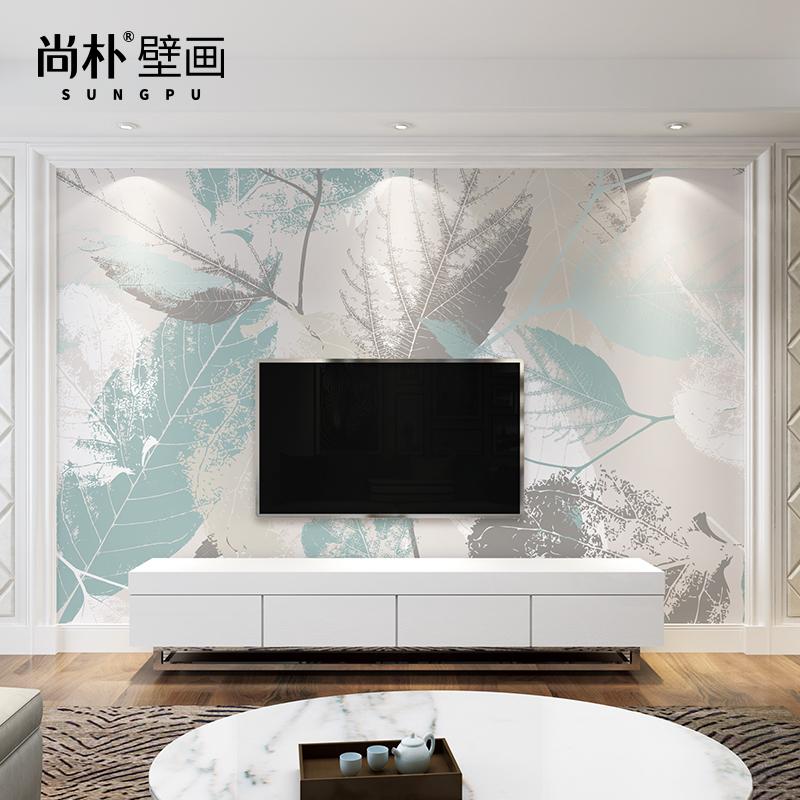 电视背景墙壁纸简约现代客厅壁画影视墙布卧室艺术北欧墙纸树叶