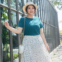 纤莉秀2019夏装新款大码女装纯色圆领胖仙女休闲百搭宽松短袖T恤