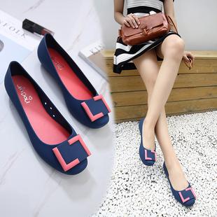 夏季包头方扣平底防水雨鞋浅口橡胶女凉鞋旅游沙滩防滑平跟果冻鞋