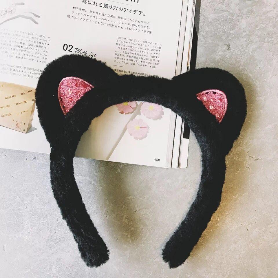 Ying.日本小s同款猫耳朵可爱洗脸发箍发带发卡短发发饰头饰头箍