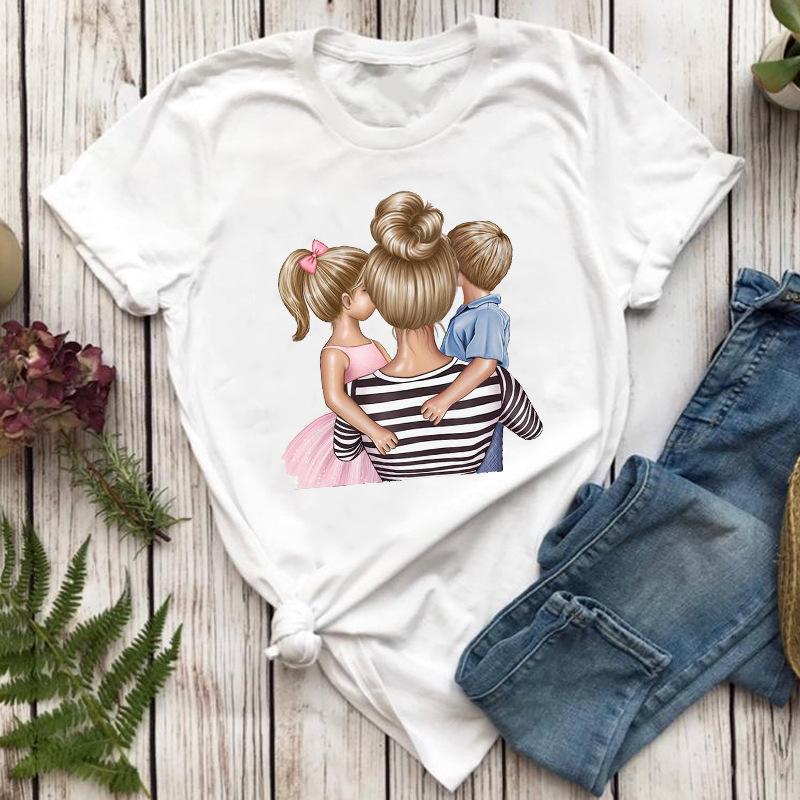 夏の新商品は親子の母の日プレゼントです。プリント母と子供の白いTシャツです。