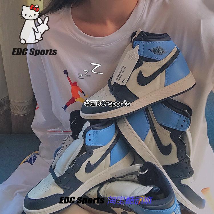 【EDC】Air Jordan 1 aj1黑曜石 北卡校园蓝黑蓝脚趾 555088-140图片