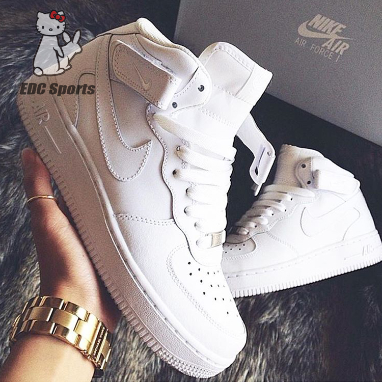 【EDC sports】Nike Air Force 1 Mid空军一号全白中邦315123-111