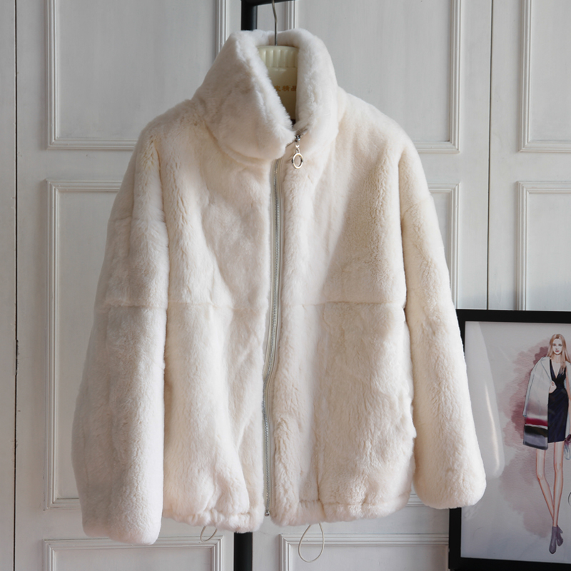 2021 winter new product young stand collar real Rex Rabbit Fur grass coat fashion foreign style fur coat