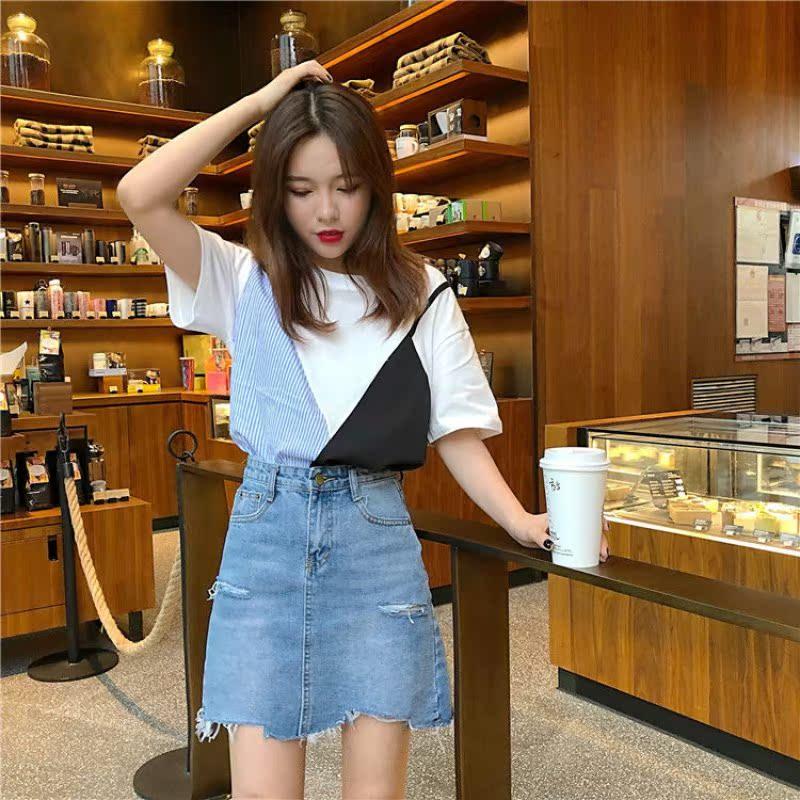 4韩版女装短袖T恤女拼接撞色条纹打底衫宽松上衣女春夏