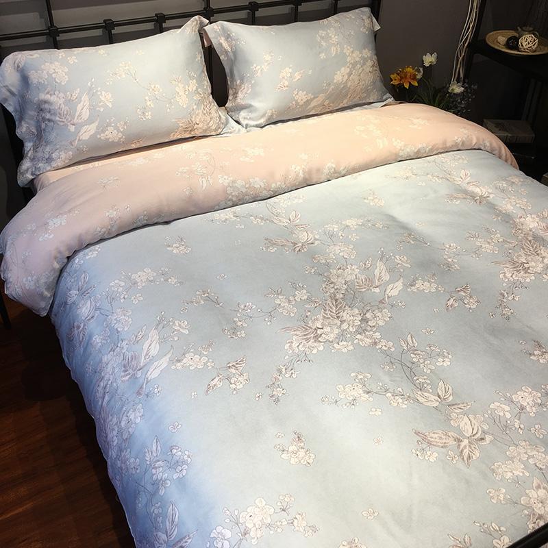 60支天丝四件套田园花被套裸睡夏季床上用品柔软丝滑冰丝床单床笠