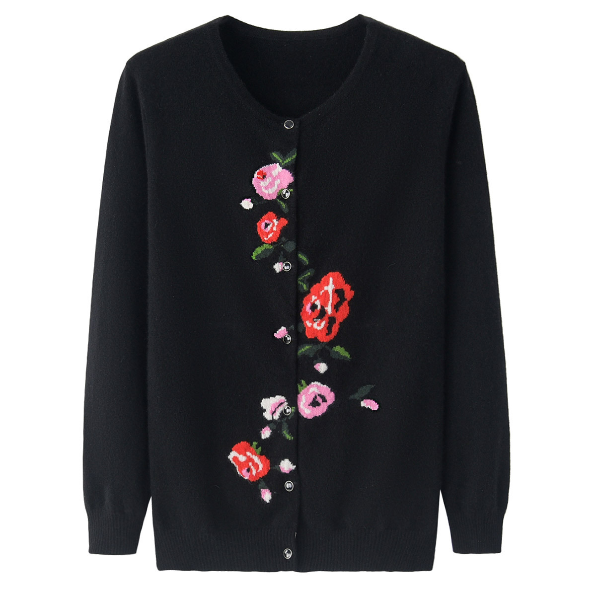 中老年秋冬装羊绒衫女士圆领对襟休闲简朴针织开衫外套长袖毛衣新