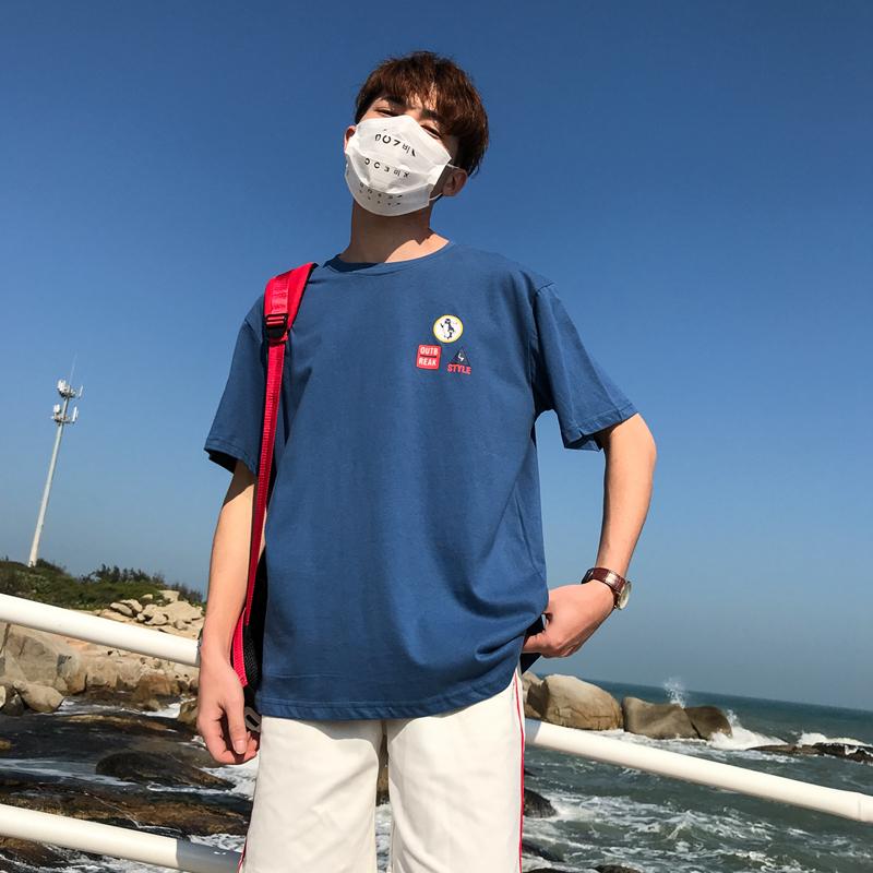 夏季新款多色短袖T恤 港风大码男蓝色 607 T08 P35