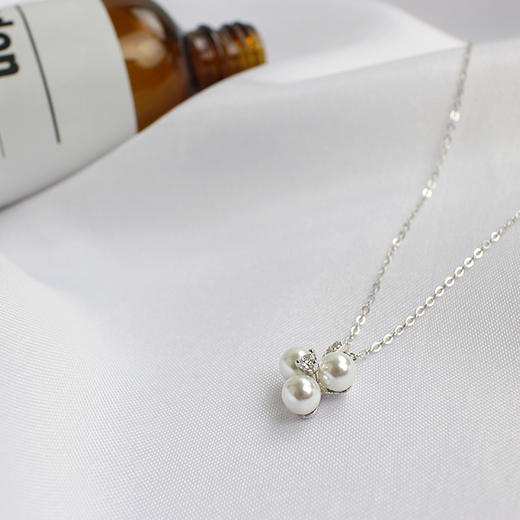 Korean S925 pure silver creative design small eight heart eight arrow pearl necklace plum blossom female Necklace Girl Gift