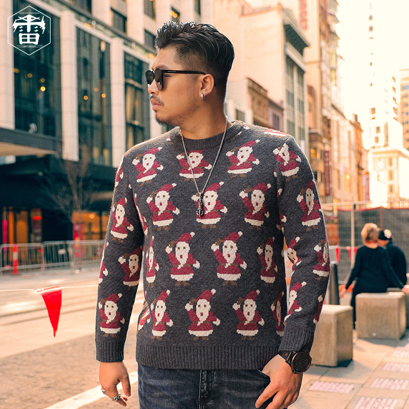 Rehagger fat size mens sweater autumn and winter new fattening plus large Christmas grandfather fat man T-shirt