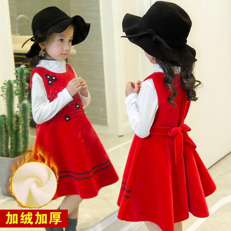 Ребятишки осень зима платье принцессы девочки платье плюс бархат новый ребенок ребенок шерстяной жилет юбка девушка юбка