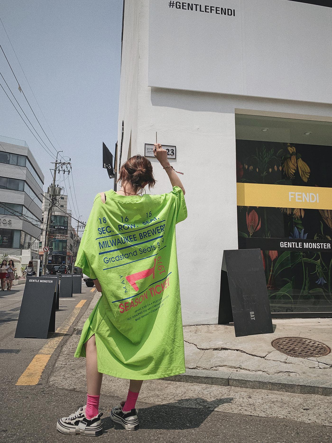 甜心家 破洞字母印花长款中袖T恤裙宽松oversize连衣裙韩版女装夏