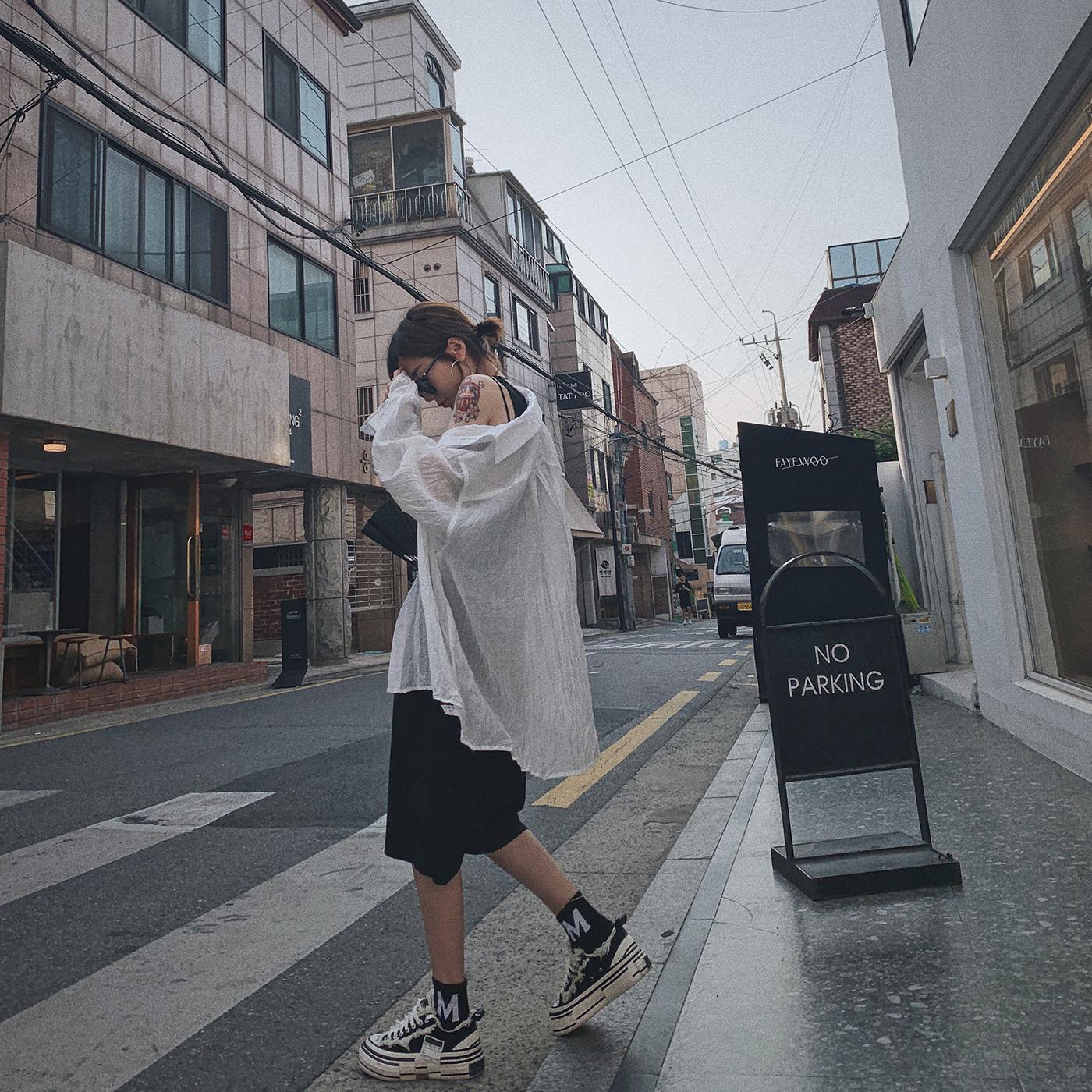 甜心家 纯色褶皱长袖衬衫 宽松薄款防晒衣中长款韩版女装白色夏装