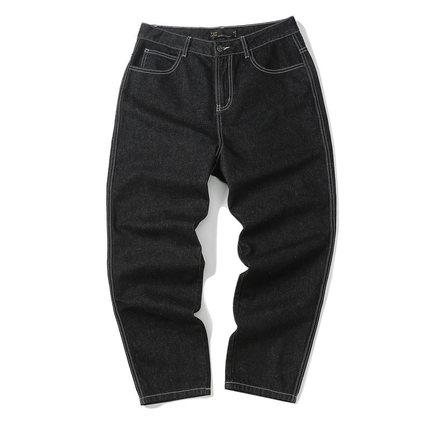 【夏季清仓】黑色牛仔裤男宽松哈伦直筒牛仔九分裤男士潮流百搭