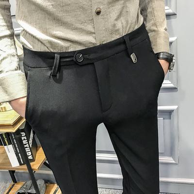 夜店发型师韩版修身小脚休闲西裤长裤子个性装饰潮603-1-K26-P75