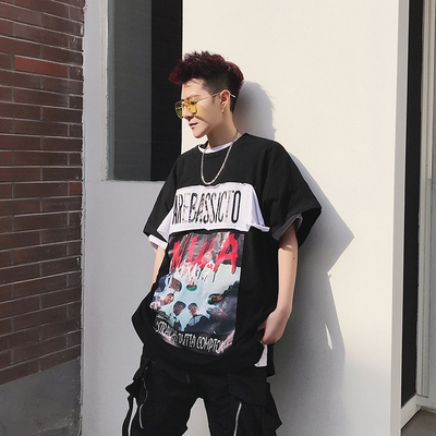 2018夏装 欧美高街韩版宽松T恤男装个性贴布印花打底衫KK92 P55