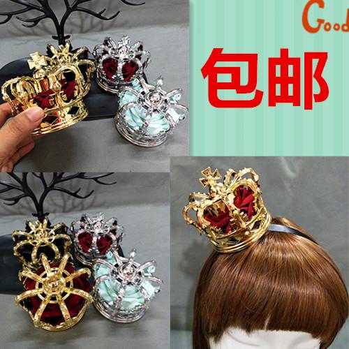 lolita头饰国王女王加冕礼洛丽塔新娘金色银色玫瑰立体皇冠头饰