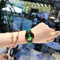 法国小众手表女ins风显白牛油果绿色森女学生网红防水款国产腕表