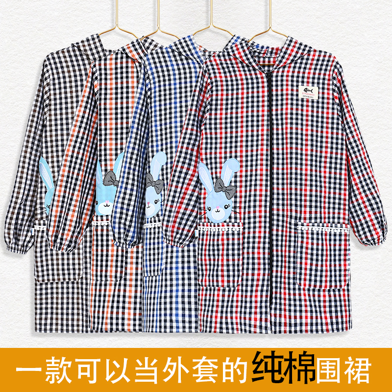 Household cotton plaid coat apron kitchen cooking oil proof waterproof comfortable fashion womens smock long sleeve work clothes