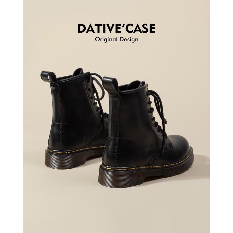 与格女鞋2021年新款女英伦风短靴真皮厚底dr马丁靴女春秋单靴靴子