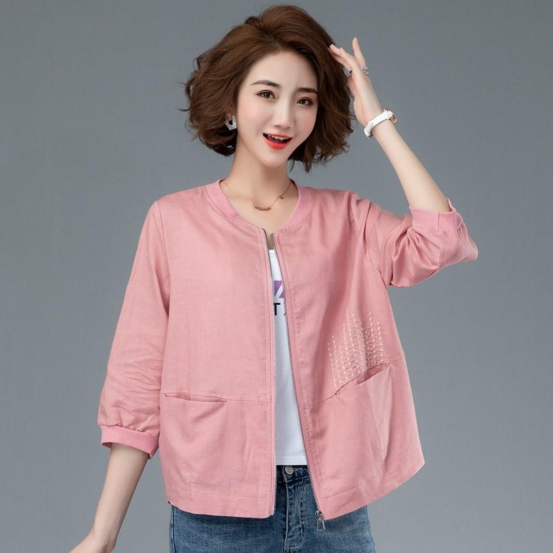 初夏轻薄棉麻短外套女中年妈妈装开衫大码夹克洋气外搭棒球服上衣