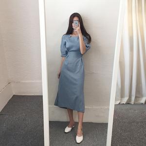 气质复古方领棉麻连衣裙2019新款女夏季亚麻系带修身收腰显瘦裙子