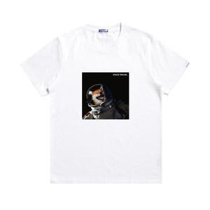 DMNUMB原创潮牌汪星人宇航员短袖 国潮宽松纯棉贴布印花T恤情侣装
