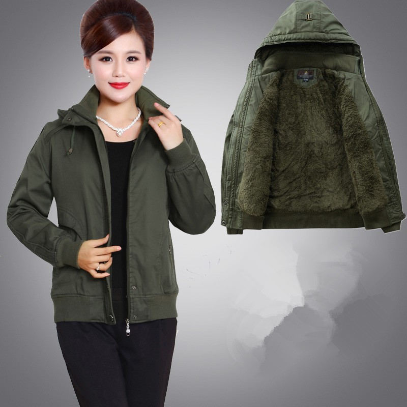 Middle aged and old womens winter cotton padded clothes middle aged mothers pure cotton padded jacket with velvet, hooded, large and thick cotton padded clothes