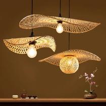 竹编吊灯日式创意艺术多头组合服装装饰荷叶餐厅楼梯民宿大堂灯具