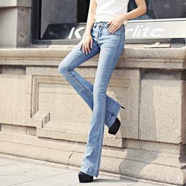 2021欧美原创夏季新品中低腰微喇牛仔裤弹力修身小喇叭裤长裤子女