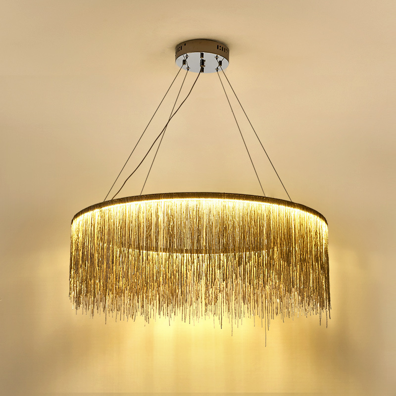 Nordic Light luxury round creative living room bar dining room lamp post modern simple bedroom personality tassel chain Chandelier