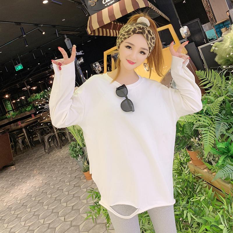 2018秋冬新款韩版白色长袖T恤破洞加绒打底衫宽松中长款上衣女潮