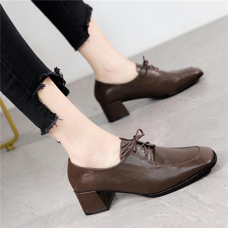 英伦学院风小皮鞋女2020秋新款复古百搭粗跟深口高跟学生系带单鞋
