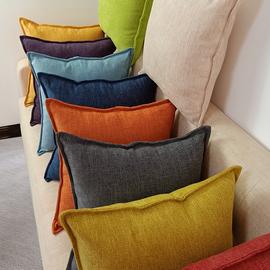北欧简约纯色沙发抱枕靠垫客厅床头大靠背坐椅护腰靠枕方枕套定做