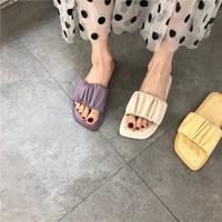 查看舒适软底一字拖20夏季新品韩国东大门糖果个性褶皱露趾松糕凉拖鞋价格